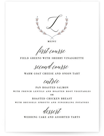 This is a portrait botanical, classic and formal, pink Menus by Susan Brown called United with Standard printing on Signature in Classic Flat Card format. Give guests a sneak peek of the meal to come with these unique menus. All ...