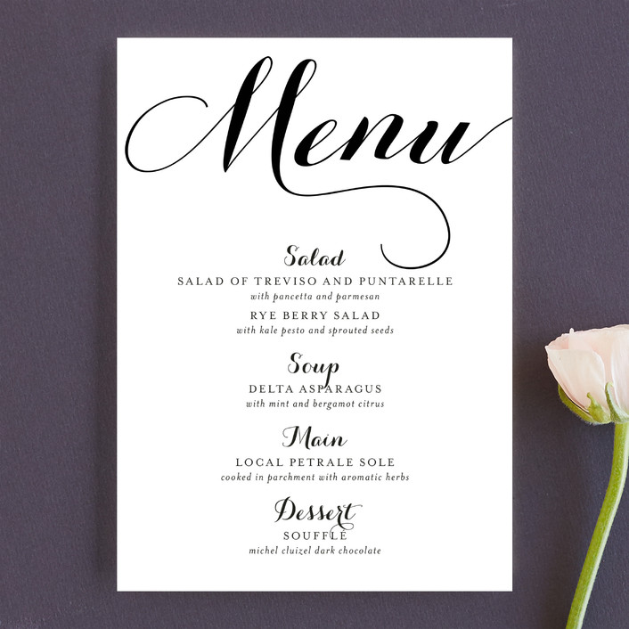 """Modern Mint"" - Elegant, Formal Menu Cards in Cotton by Marabou Design."