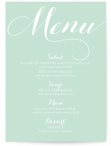 This is a portrait classical, elegant, formal, simple, green Menus by Marabou Design called Modern Mint with Standard printing on Signature in Classic Flat Card format. Give guests a sneak peek of the meal to come with these unique menus. ...