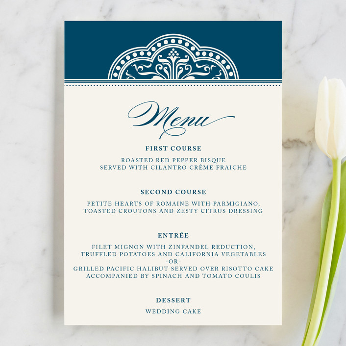 """""""Ornamental"""" - Classical, Elegant Menu Cards in Sapphire by Paperview Designs."""