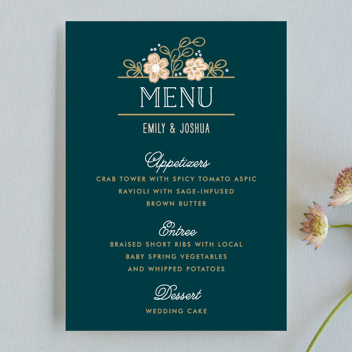 """Country Florals"" - Floral & Botanical, Rustic Menu Cards in Navy by Alethea and Ruth."