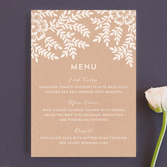 """""""Leaves and Kraft"""" - Rustic, Floral & Botanical Menu Cards in Kraft by Katharine Watson."""