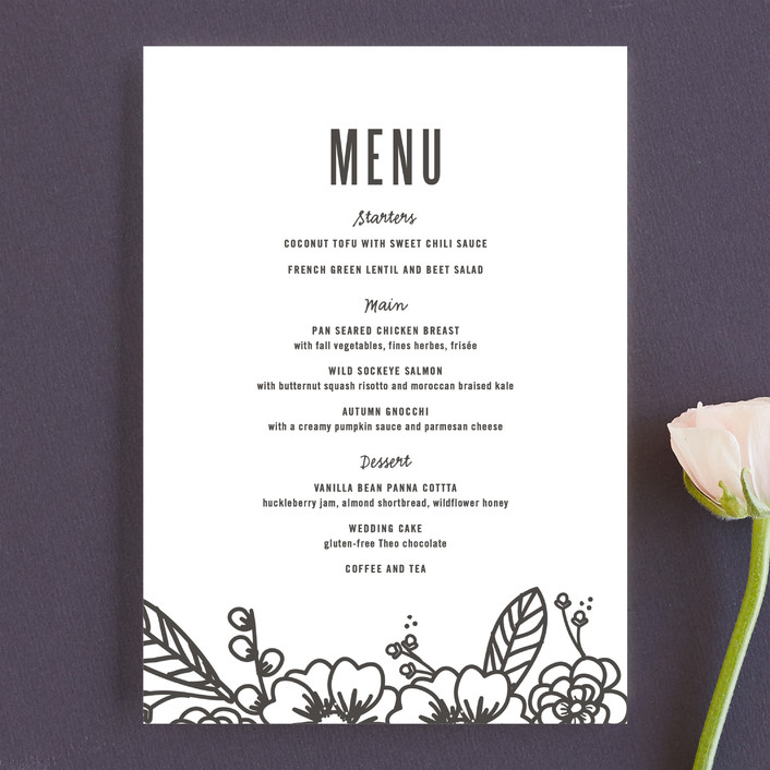 """Modern Botanicals"" - Modern, Floral & Botanical Menu Cards in Lily by Natalie Nakai."