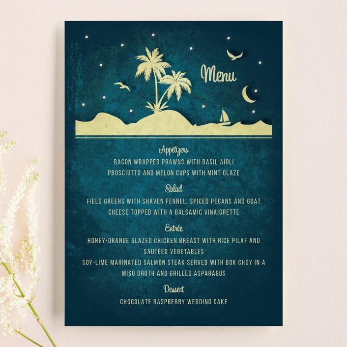 """""""Love Island"""" - Beach, Destination Menu Cards in Marine by Rebecca Bowen."""