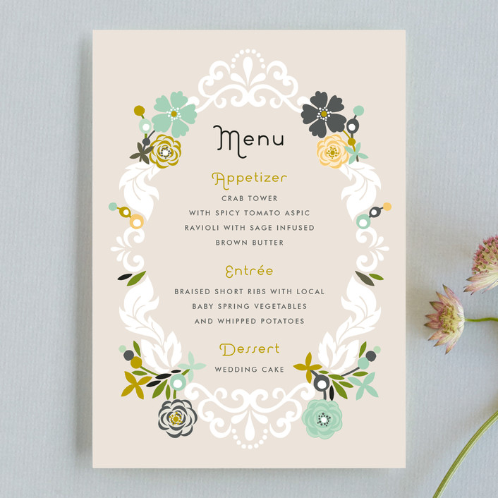 """""""Floral Frame"""" - Floral & Botanical, Rustic Menu Cards in Mint by Alethea and Ruth."""