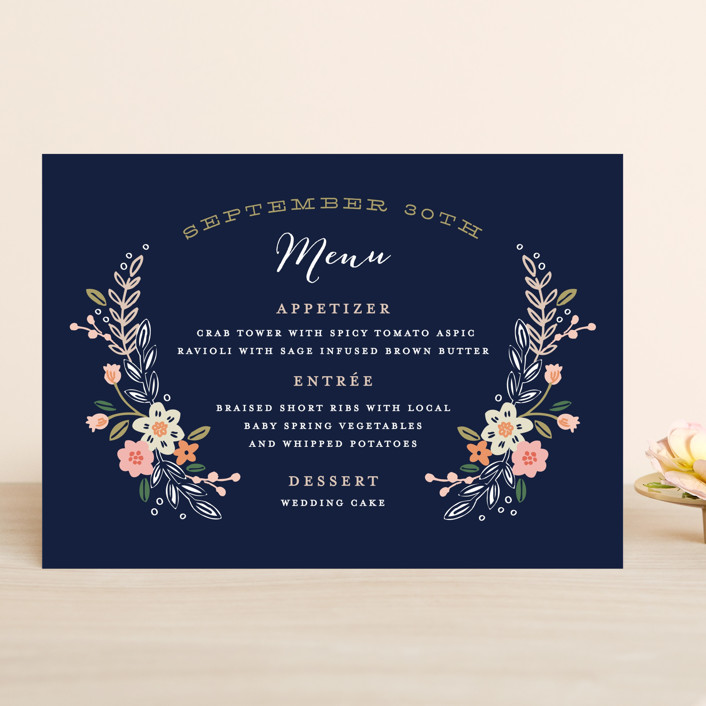 """""""Wildflower Crest"""" - Floral & Botanical, Rustic Menu Cards in Navy by Alethea and Ruth."""