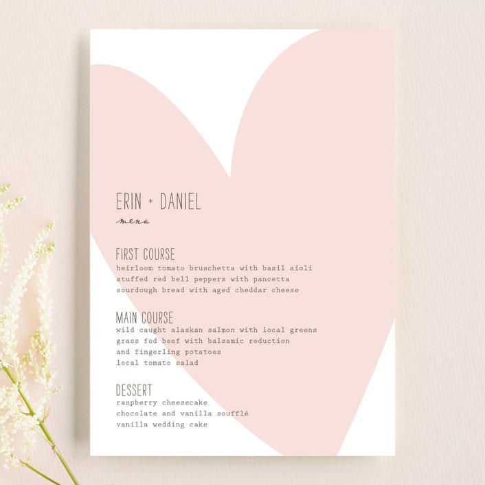 """Simply Love"" - Modern, Simple Menu Cards in Soft Pink by Aspacia Kusulas."
