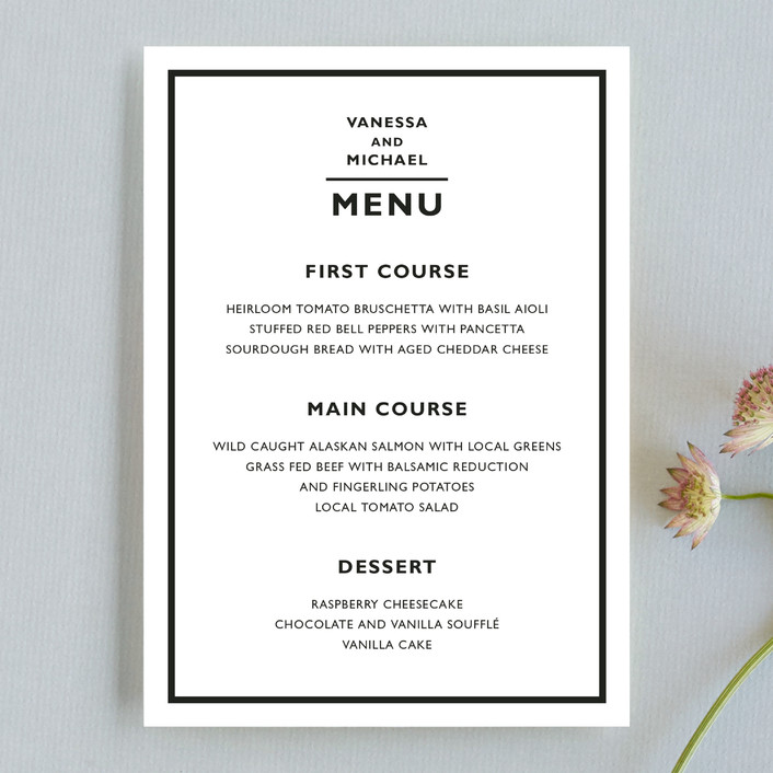 """Desenfadado"" - Bold typographic, Simple Menu Cards in Black Ink by Aspacia Kusulas."