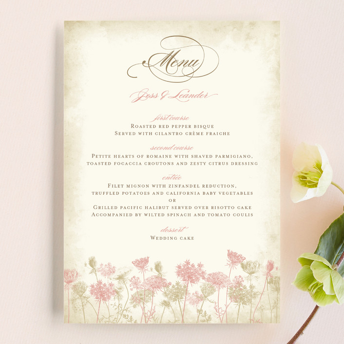 """Rustic Queen Anne"" - Classical, Floral & Botanical Menu Cards in Vintage Rose by Brynn Rose Designs."