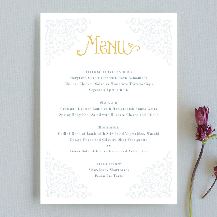 """""""Once Upon"""" - Bold typographic, Hand Drawn Menu Cards in Sunflower by Erin Pescetto."""