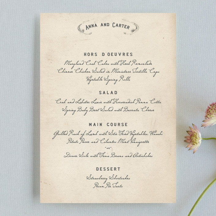 """Vintage Letter"" - Vintage, Bold typographic Menu Cards in Parchment by Erin Pescetto."