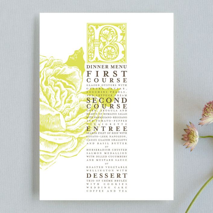 """Rose Garden"" - Monogrammed, Floral & Botanical Menu Cards in Chartruese by LOVEkacie."