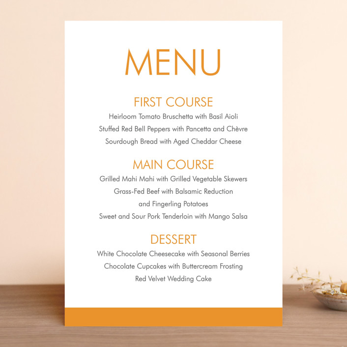 """Minimalist Display"" - Bold typographic, Modern Menu Cards in Tangerine by Coco and Ellie."