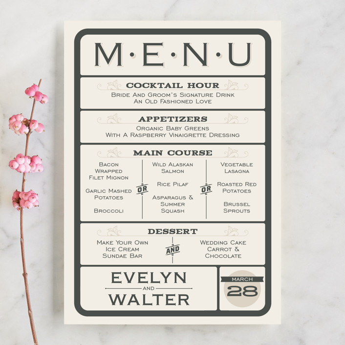 """""""A Blessed Union"""" - Modern, Whimsical & Funny Menu Cards in Cream by GeekInk Design."""
