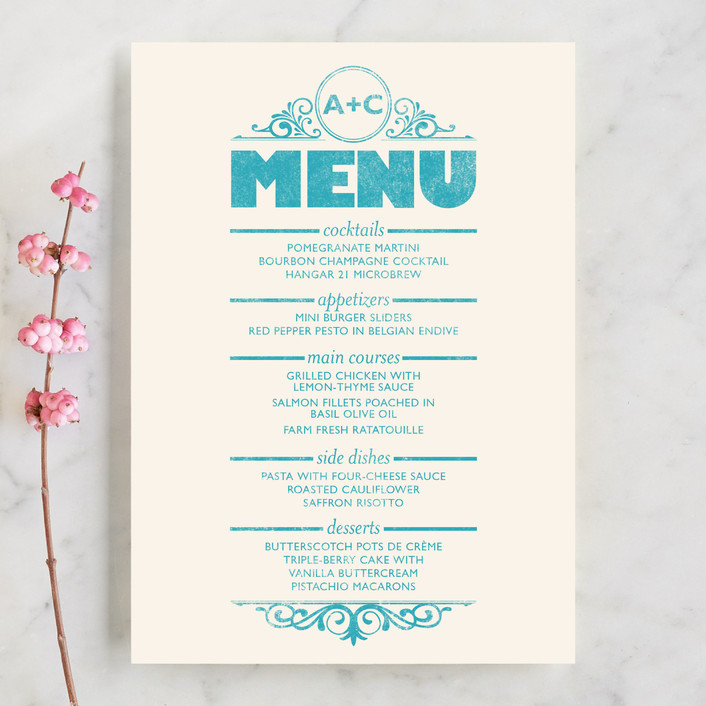 """Classically Modern"" - Bold typographic, Vintage Menu Cards in Aqua by GeekInk Design."