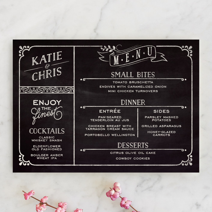 """Slated Forever"" - Bold typographic, Vintage Menu Cards in Chalkboard by GeekInk Design."
