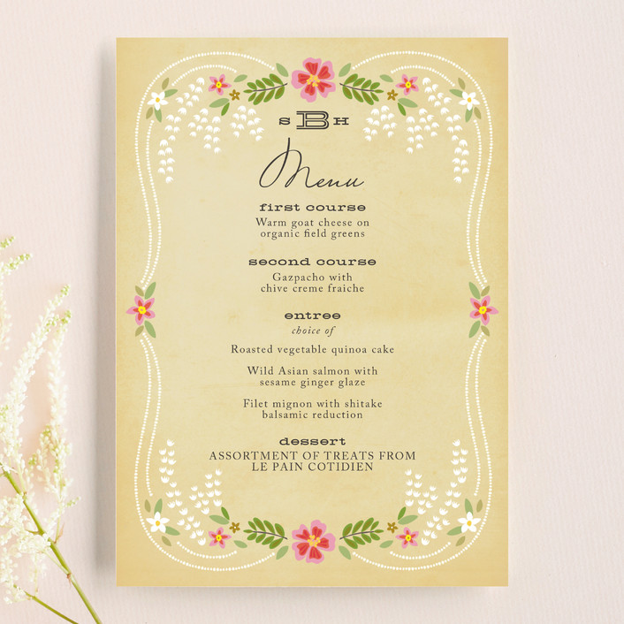 """Wisteria"" - Rustic, Floral & Botanical Menu Cards in Pinkberry by Griffinbell Paper Co.."
