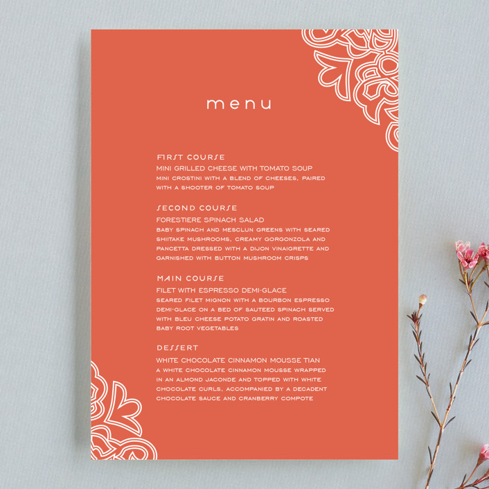 """Love Blossoms"" - Classical Menu Cards in Persimmon by Guess What Design Studio."