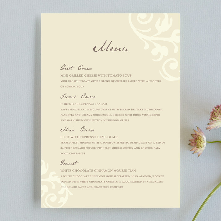 """Elegant Flourish"" - Classical, Vintage Menu Cards in Pale Yellow by Guess What Design Studio."