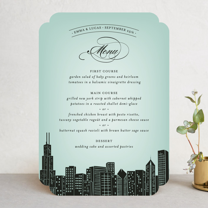 """""""Big City - Chicago"""" - Modern Menu Cards in Pale Blue by Hooray Creative."""