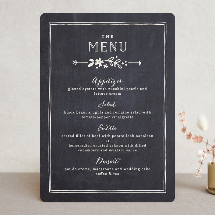 """Alabaster Florals"" - Floral & Botanical, Hand Drawn Menu Cards in Slate by Jennifer Wick."