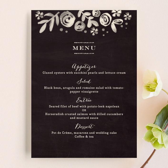 """Sun Bleached Florals"" - Menu Cards in Blackboard by Jennifer Wick."
