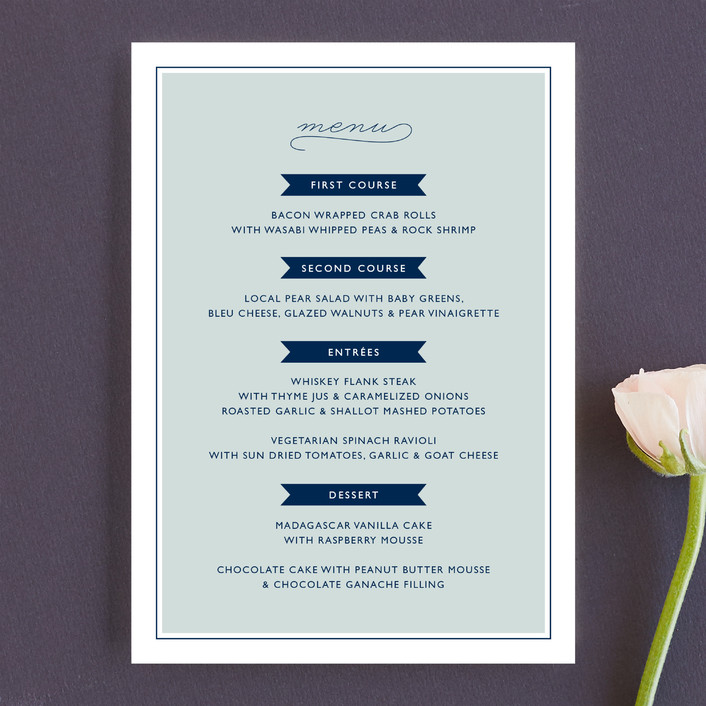 """Rope Ampersand"" - Beach, Modern Menu Cards in Sea by Jill Means."