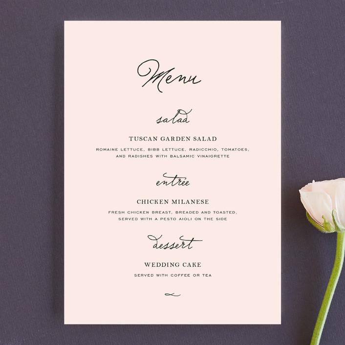 """Estate"" - Elegant, Formal Menu Cards in Blush by Kim Dietrich Elam."