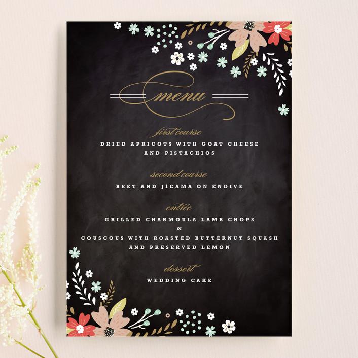 """Chalkboard Floral"" - Floral & Botanical, Rustic Menu Cards in Peony by Kristie Kern."