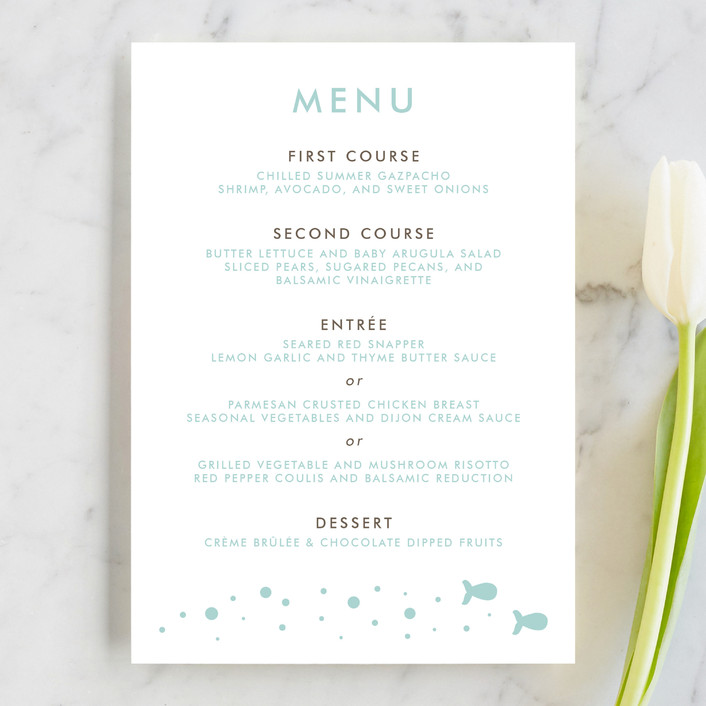 """""""Only Fish for Me"""" - Whimsical & Funny, Modern Menu Cards in Tropical Sea by Ling Wang."""