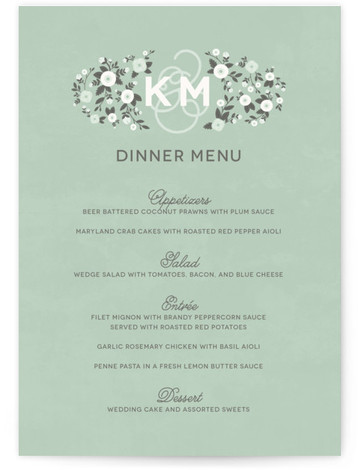 This is a portrait floral, hand drawn, monogrammed, rustic, green Menus by Sarah Brown called Cheerful Bloom with Standard printing on Signature in Classic Flat Card format. Give guests a sneak peek of the meal to come with these unique ...