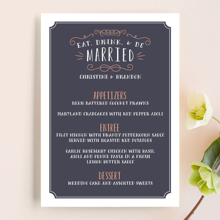 """Serendipity"" - Whimsical & Funny Menu Cards in Midnight by Sarah Brown."