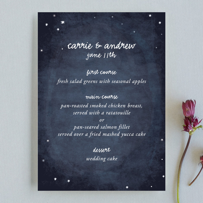 """Constellations"" - Rustic, Modern Menu Cards in Deep Blue by SimpleTe Design."
