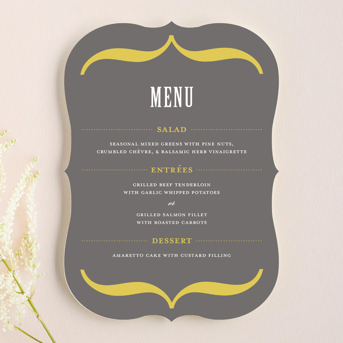 """Bold Brackets"" - Vintage, Rustic Menu Cards in Slate by Teresa Lang."