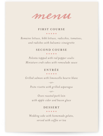 This is a portrait bold typographic, classical, elegant, simple, vintage, pink Menus by Olivia Raufman called Delicate Ampersand with Standard printing on Signature in Classic Flat Card format. Give guests a sneak peek of the meal to come with these ...