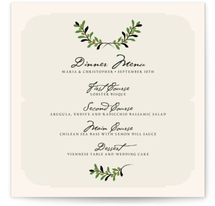 This is a square orientation classical, elegant, whimsical, green Menus by Yolanda Mariak Chendak called Italiano with Standard printing on Signature in Classic Flat Card format. Give guests a sneak peek of the meal to come with these unique menus. ...