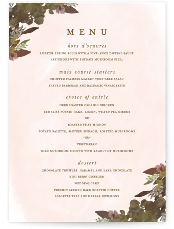 This is a brown Menus by Grace Kreinbrink called Foliage wreath with Standard printing on Signature in Classic Flat Card format. Give guests a sneak peek of the meal to come with these unique menus. All menus can be customized ...