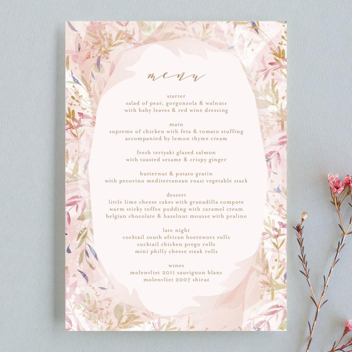 """Fantasy Floral Bride"" - Menu Cards in Blush by Phrosne Ras."