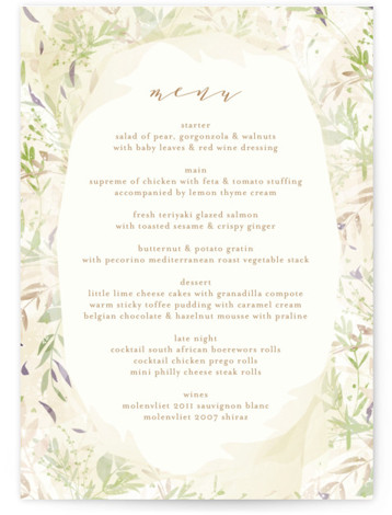 This is a brown, green Menus by Phrosne Ras called Fantasy Floral Bride with Standard printing on Signature in Classic Flat Card format. Give guests a sneak peek of the meal to come with these unique menus. All menus can ...