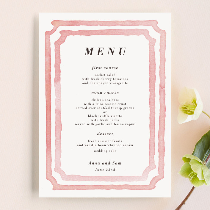 """Watercolor Frame"" - Modern, Simple Menu Cards in Coral by Laura Condouris."