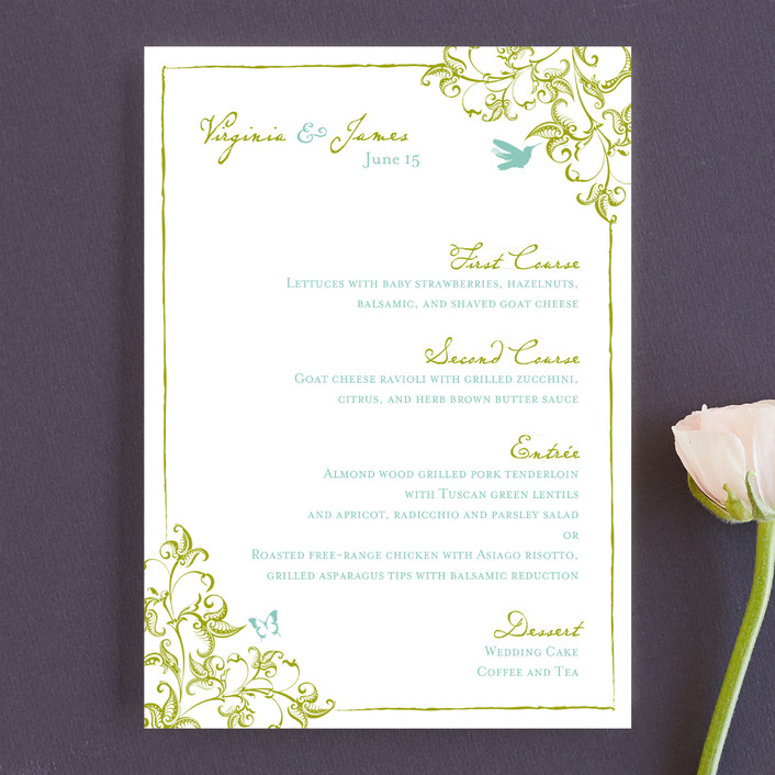 """Somerset"" - Floral & Botanical, Formal Menu Cards in Spanish Moss by Paper Dahlia."