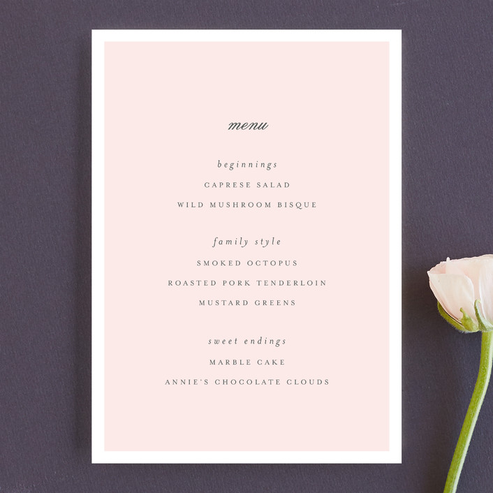 """Bare Love"" - Simple, Modern Menu Cards in Blush by Sara Hicks Malone."