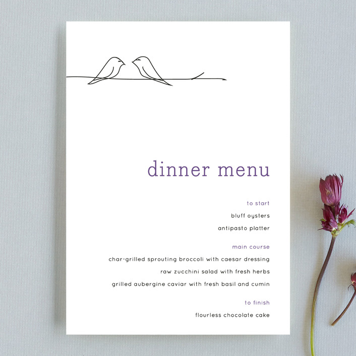 """Birds of a Feather"" - Whimsical & Funny Menu Cards in Plum by R studio."