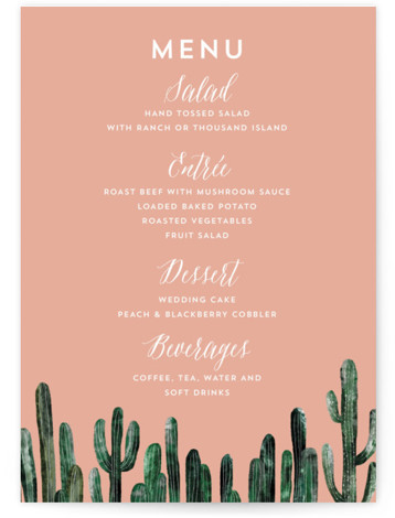 This is a portrait destination, orange Menus by Cass Loh called Cacti with Standard printing on Signature in Classic Flat Card format. Give guests a sneak peek of the meal to come with these unique menus. All menus can be ...