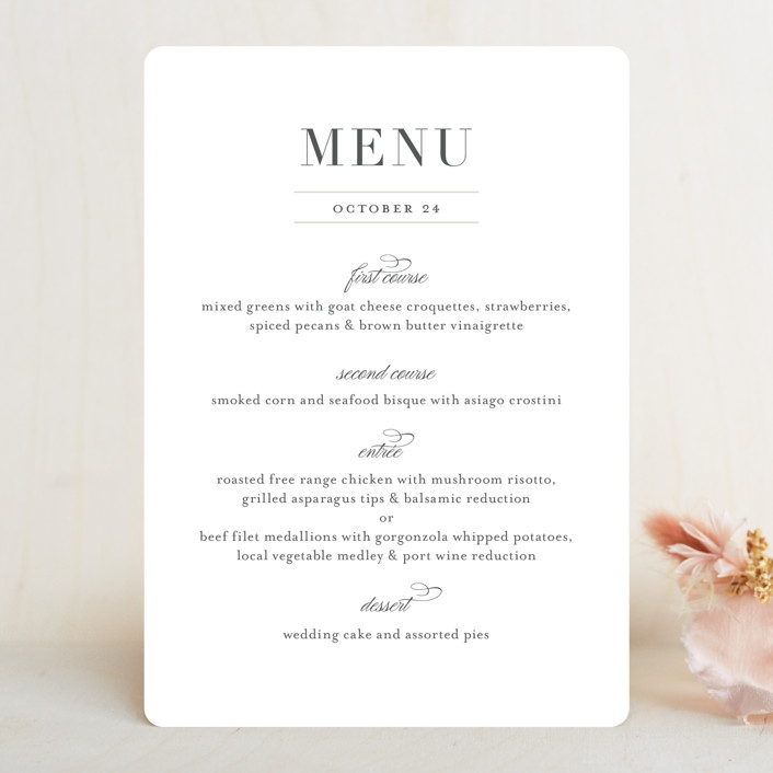 """""""Classical"""" - Menu Cards in Taupe by Jessica Williams."""