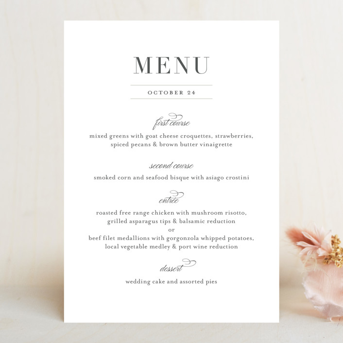 """Classical"" - Menu Cards in Taupe by Jessica Williams."