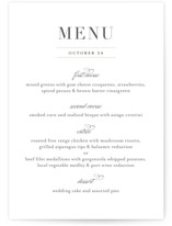 This is a black and white menu card by Jessica Williams called Classical with standard printing on signature in standard.