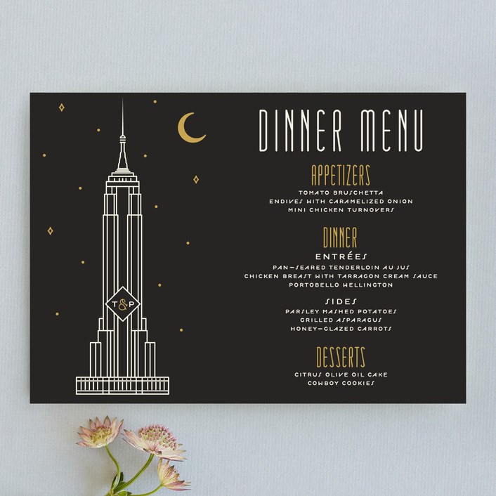 """Empire"" - Destination, Modern Menu Cards in Midnight by GeekInk Design."