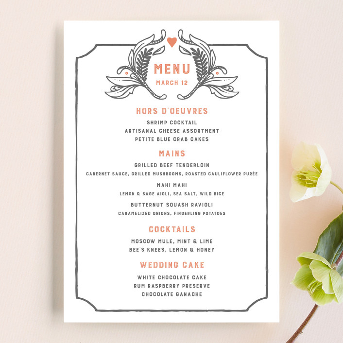"""Fairytale Frame"" - Rustic Menu Cards in Woodland Fog by Paper Raven Co.."