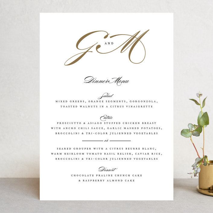 """Flourish"" - Menu Cards in Antique by Jennifer Postorino."